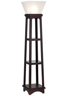 Monaco Espresso 3-Shelf Etagere Torchiere Floor Lamp