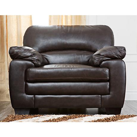 Preston Blair Dark Brown Leather Armchair
