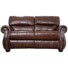 Lorenzo Italian Burgundy Leather Loveseat