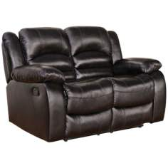 Merced Reclining Brown Leather Loveseat