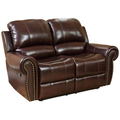 Manhattan Reclining Burgundy Leather Loveseat
