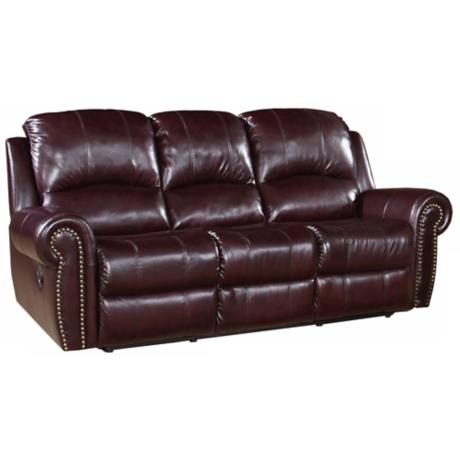 Manhattan Reclining Italian Burgundy Leather Sofa