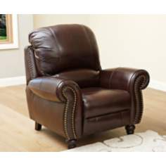 Austin Leather Pushback Reclining Burgundy Armchair