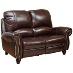 Austin Leather Pushback Reclining Burgundy Loveseat