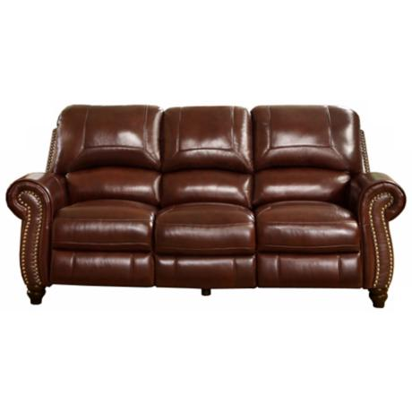 Austin Leather Pushback Reclining Burgundy Sofa