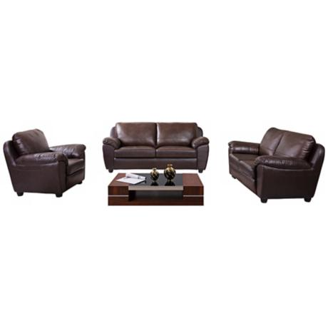 Dallas 3-Piece Brown Leather Living Room Set