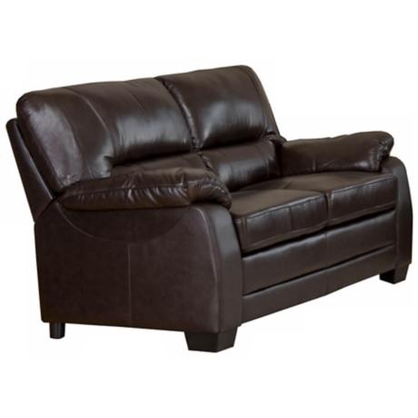 Capisterano Brown Leather Loveseat