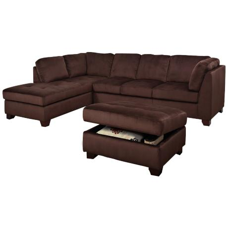 Hawthrone Dark Brown Microsuede Sectional Sofa/Ottoman Set