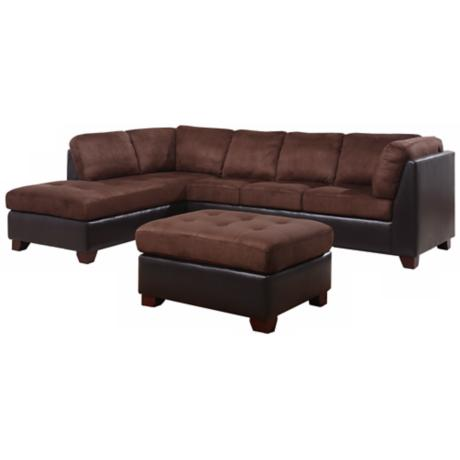 Pointe 3-Piece Microsuede Sectional Sofa Set