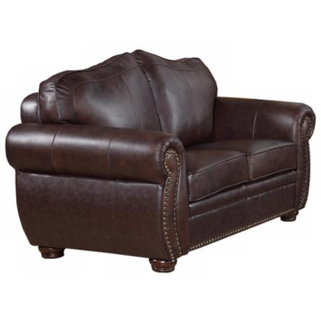 California Leather Brown Loveseat