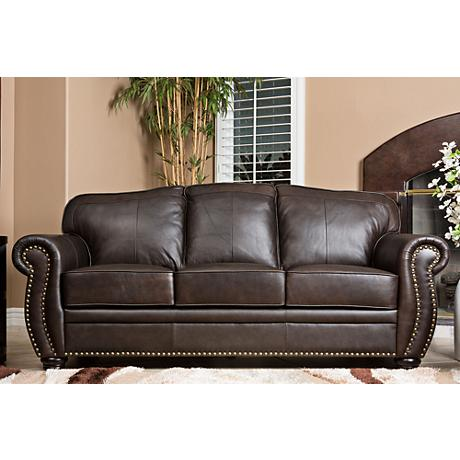 California Sierra Leather Brown Sofa