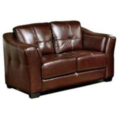 Auburn Dark Burgundy Top Grain Italian Leather Loveseat