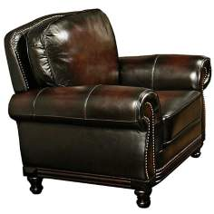 Clarkston Woodtrim Hand-Rubbed Leather Armchair