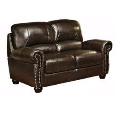 Clarkston Woodtrim Hand-Rubbed Leather Loveseat