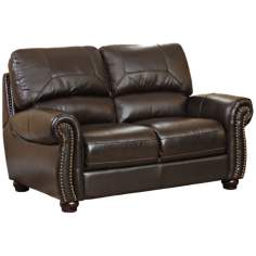 Capisterano Dark Brown Italian Leather Loveseat