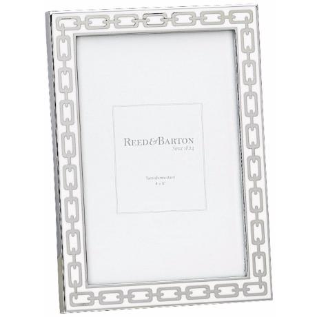 "Reed and Barton Silver Link 4x6"" White Picture Frame"