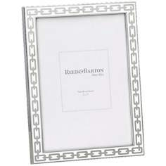 "Reed and Barton Silver Link 5x7"" White Picture Frame"