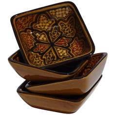 Le Souk Ceramique Honey Set of 4 Square Sauce Dishes