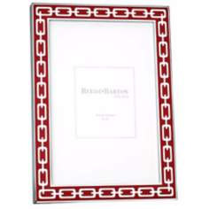 "Reed and Barton Silver Link 4x6"" Poppy Red Picture Frame"