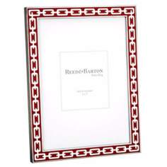 "Reed and Barton Silver Link 5x7"" Poppy Red Picture Frame"