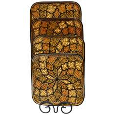 Le Souk Ceramique Honey Design Set of 4 Square Plates