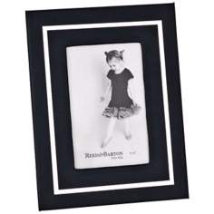 "Reed and Barton Bretton 4x6"" Black Leather Picture Frame"