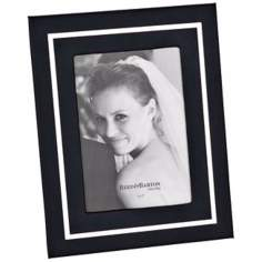 "Reed and Barton Bretton 5x7"" Black Leather Picture Frame"