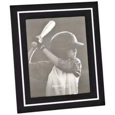 "Reed and Barton Bretton 8x10"" Black Leather Picture Frame"