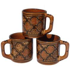 Le Souk Ceramique Honey Design Set of 4 Coffee Mugs