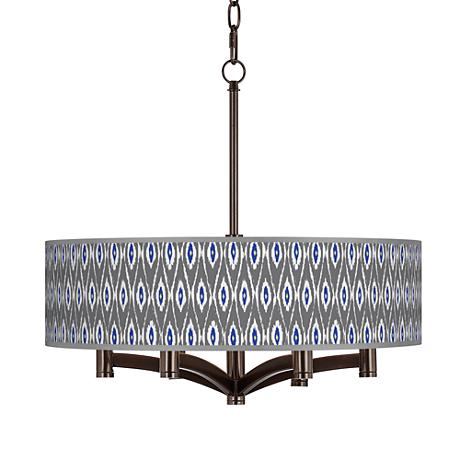 American Ikat Ava 6-Light Bronze Pendant Chandelier