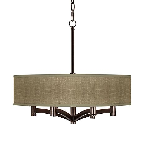 Stacy Garcia Burlap Print Ava 6-Light Bronze Pendant