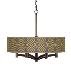 Deco Revival Ava 6-Light Bronze Pendant Chandelier