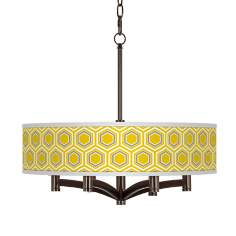 Honeycomb Ava 6-Light Bronze Pendant Chandelier
