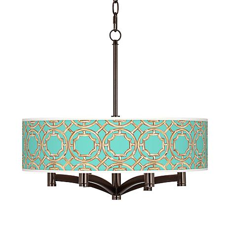 Teal Bamboo Trellis Ava 6-Light Bronze Pendant Chandelier
