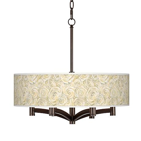 Cream Roses Ava 6-Light Bronze Pendant Chandelier