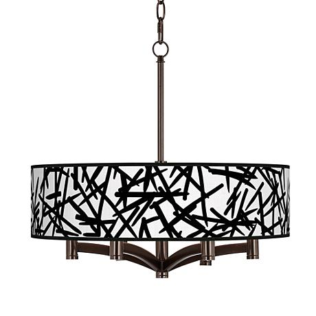 Sketchy Ava 6-Light Bronze Pendant Chandelier