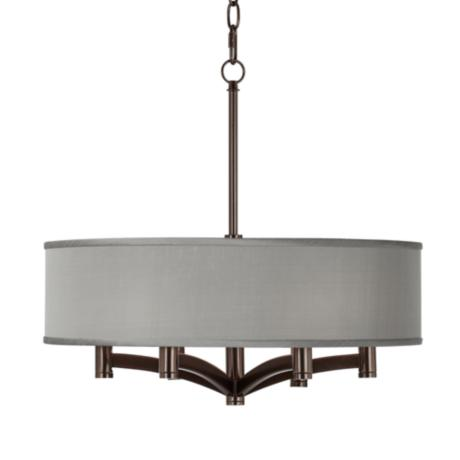 Gray Textured Silk Ava 6-Light Bronze Pendant Chandelier