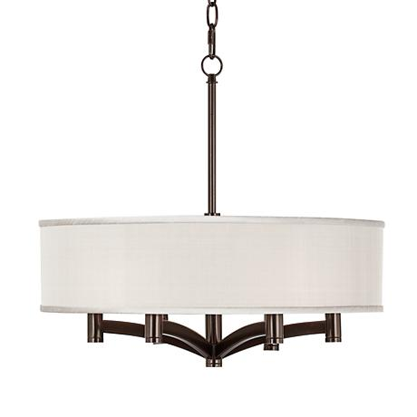 Cream Textured Silk Ava 6-Light Bronze Pendant Chandelier