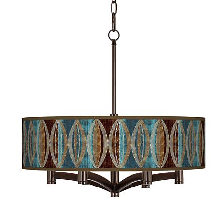 Stacy Garcia Pearl Leaf Peacock Ava 6-Light Bronze Pendant
