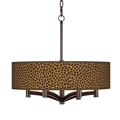 Safari Cheetah Ava 6-Light Bronze Pendant Chandelier