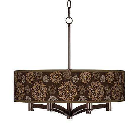 Chocolate Blossom Linen Ava 6-Light Bronze Pendant Fixture
