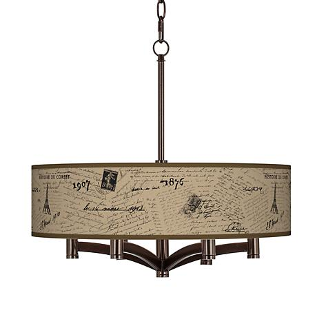 Letters to Paris Linen Ava 6-Light Bronze Pendant Fixture