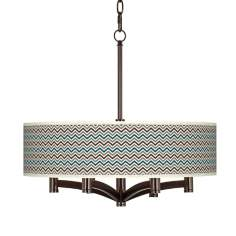 Zig Zag Ava 6-Light Bronze Pendant Chandelier