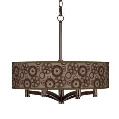 Industrial Gears Ava 6-Light Bronze Pendant Chandelier