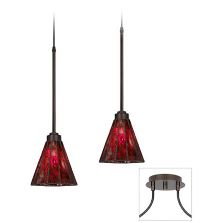 Tiger Bronze-Red Glass Double Swag Chandelier