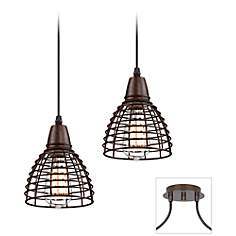 Tiger Bronze - Metal Grid Double Multi Light Pendant