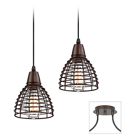 Possini Euro Tiger Bronze Metal Grid Double Light Pendant