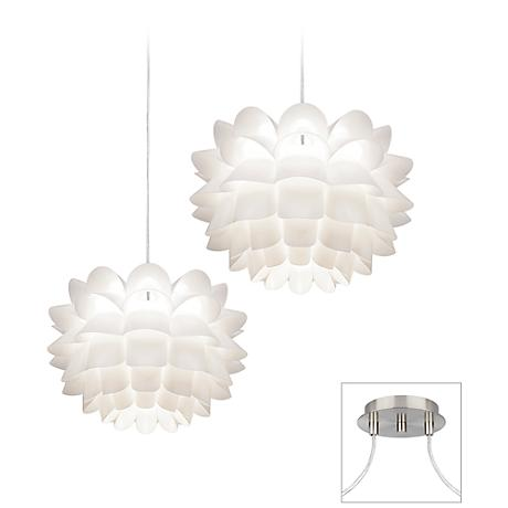 White Flower Brushed Nickel Double Swag Chandelier