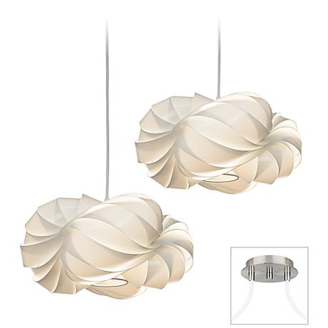 White Cloud Brushed Nickel Double Multi Light Pendant