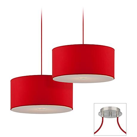 Possini Euro Red Brushed Nickel Double Multi Light Pendant
